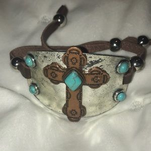 Faux turquoise and silver cross bracelet